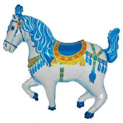 Ballon cheval de manège bleu
